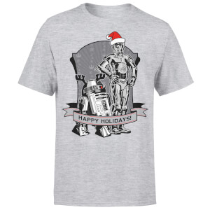 Star Wars Droids Happy Holidays Kerst T-Shirt- Grijs