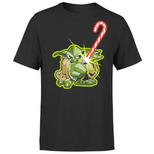 Star Wars Christmas Candy Cane Yoda Black T-Shirt