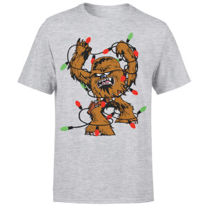 Star Wars Christmas Chewbacca Tangled Fairy Lights Grey T-Shirt