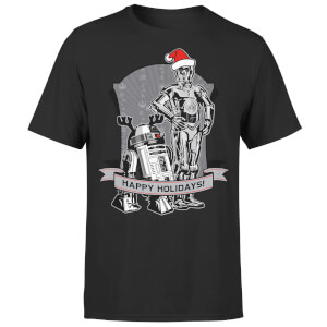 Star Wars Droids Happy Holidays Kerst T-Shirt- Zwart