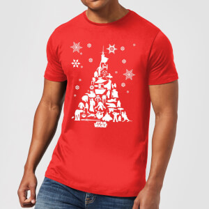 Star Wars Weihnachten Character Tree T-Shirt - Rot