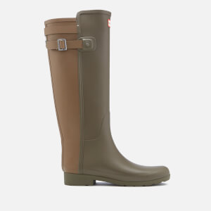 Hunter Women's Original Tall Refined Back Strap Wellies - Swamp Green/Light Khaki Brown
