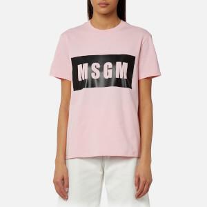 MSGM Women's Logo Detail T-Shirt - Pink