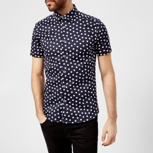 Ted Baker Men's Liklak Spot Print Short Sleeve Shirt - Navy