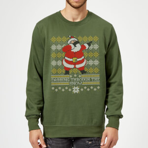 Pull de Noël Homme Dabbing through the snow Fair Isle - Vert