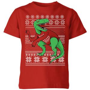 T-Rex Sleeves Kids' T-Shirt - Red