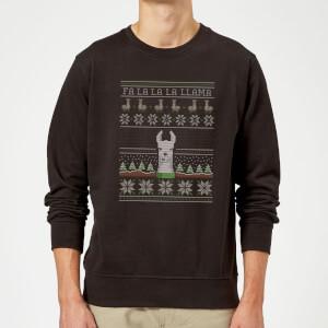 Pull de Noël Homme Fa La La La Llama - Noir