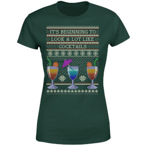 Its Beginning To Look A Lot Like Cocktails Women's T-Shirt - Forest Green
