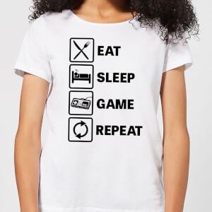 Eat Sleep Game Repeat Women's T-Shirt - White