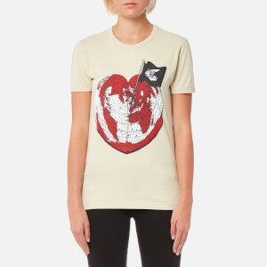 Vivienne Westwood Anglomania Women's Classic T-Shirt Heart World Print - Ocra