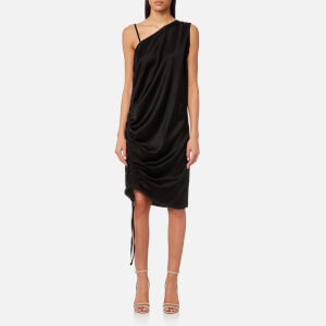 T by Alexander Wang Women's Asymmetric Drape Knee Length Dress with Ruche - Black