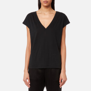T by Alexander Wang Women's Superfine Jersey Deep V Drop Shoulder T-Shirt - Black