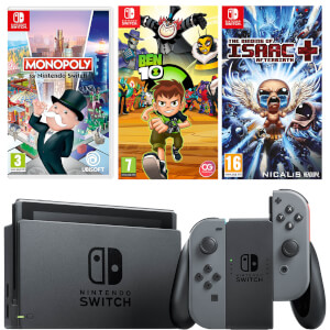 Nintendo Switch Console with Grey Joy-Con, The Binding of Issac, Monopoly & Ben 10