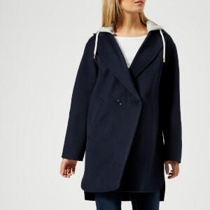 Tommy Hilfiger Women's Ivo Hooded Wool Blend Coat - Peacoat