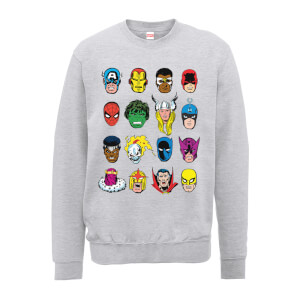 Marvel Comics Faces Colour Men's Grey Sweatshirt