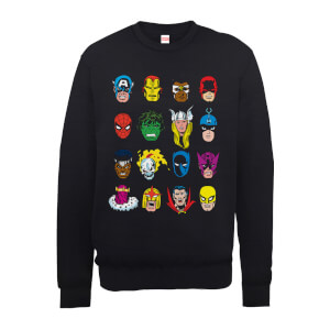 Marvel Comics Faces Colour Männer Sweatshirt - Schwarz
