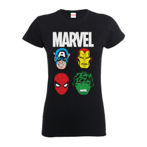 Marvel Comics Main Character Faces Women's Black T-Shirt