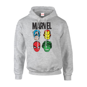 Marvel Multi Heads Men's Grey Pullover Hoodie