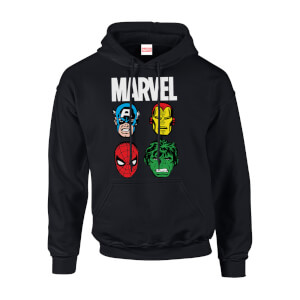Felpa con cappuccio Marvel Comics Main Character Faces Black Pullover - Uomo