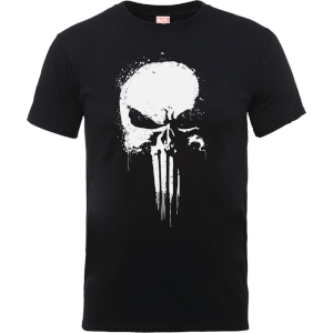 Marvel The Punisher Paintspray Men's Black T-Shirt