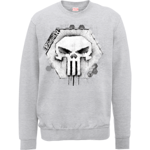 Marvel The Punisher Skull Badge Logo Grey Men's Sweatshirt