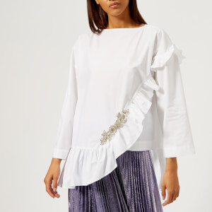 Christopher Kane Women's Crystal Poplin Frill Top - White