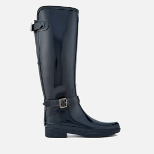 Hunter Women's Refined Back Adjustable Tall Gloss Wellies - Navy