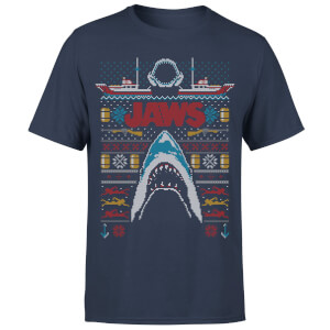 Jaws (Der weiße Hai) Männer Weihnachts T-Shirt - Navy
