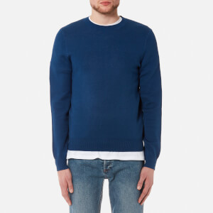 A.P.C. Men's Pull Cia Reverse Logo Knitted Jumper - Bleu Fonce