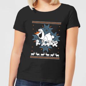 Disney Frozen Olaf And Snowmen Women's Black T-Shirt