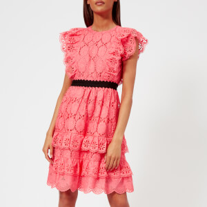 Perseverance London Women's Clover Embellished Anglaise Ruffled Mini Dress - Coral Pink