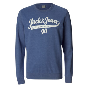 Jack & Jones Men's Originals Galions Large Logo Sweatshirt - Bleached Denim
