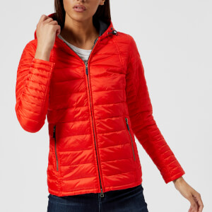 Barbour Women's Haven Field Quilt Jacket - Signal Orange/Navy