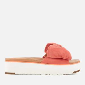 UGG Women's Joan Suede Bow Flatform Slide Sandals - Vibrant Coral