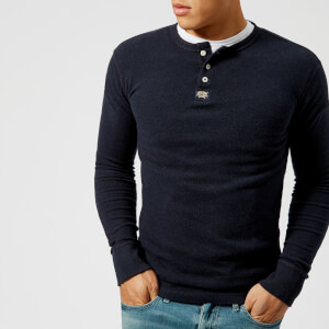 Superdry Men's Heritage Long Sleeve Grandad Top - Bass Blue Grit
