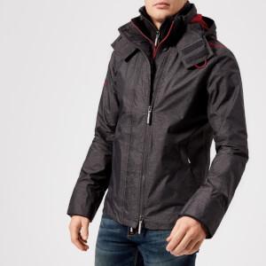Superdry Men's Tech Hood Pop Zip Windcheater Jacket - Mid Grey Marl/Court Red