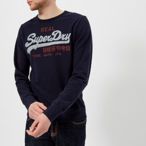 Superdry Men's Vintage Logo Duo Lite Weight Crew Sweatshirt - Marina Navy