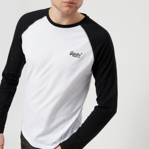 Superdry Men's Orange Label Baseball Long Sleeve T-Shirt - Black/Optic White