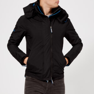 Superdry Men's Technical Hood Pop Zip Wndcheater Jacket - Black/Super Denby