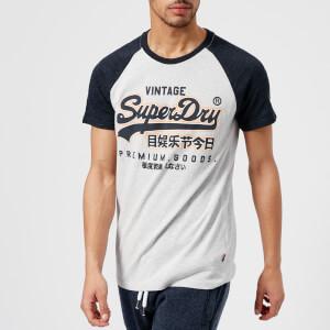 Superdry Men's Premium Goods Raglan T-Shirt - Superdry Stadium Silver/Bass Blue Grindle