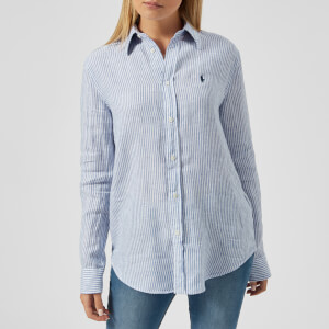 Polo Ralph Lauren Women's Logo Striped Linen Shirt - Blue/White