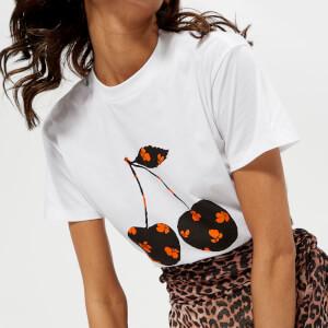 Ganni Women's Harway Cherry T-Shirt - White