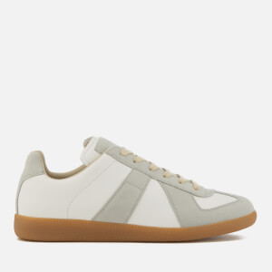 Maison Margiela Men's Calfskin and Suede Cut Out Replica Sneakers - White/Amber Sole