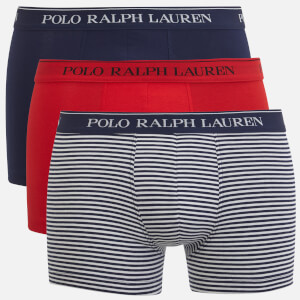 Polo Ralph Lauren Men's Classic 3 Pack Trunk Boxer Shorts - Red/Navy Stripe/Navy