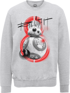 Sweat Homme Star Wars : Les Derniers Jedi BB8 Roll With IT - Gris