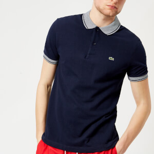 Lacoste Men's Collar Detail Polo Shirt - Navy Blue/White