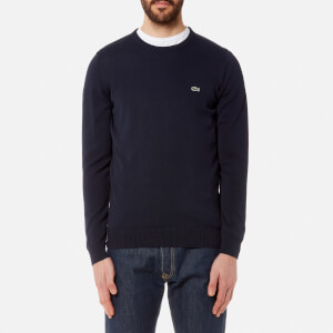 Lacoste Men's Basic Crew Knitted Jumper - Navy Blue/Flour