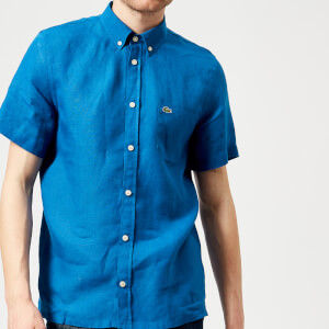 Lacoste Men's Short Sleeved Linen Shirt - Electric