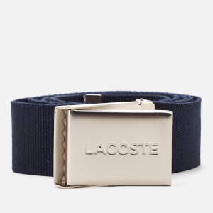 Lacoste Men's Textile Signature Croc Logo Belt - Navy Blue