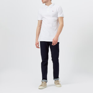 Maison Kitsuné Men's Tricolor Fox Patch Polo Shirt - White: Image 3